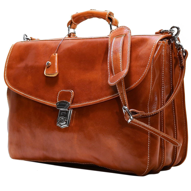 Floto Olive Honey Brown Leather Briefcase Messenger Bag