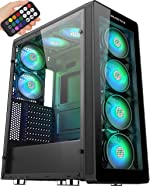 MUSETEX 8 PCS RGB Fans ATX Mid-Tower Case with 2 ×