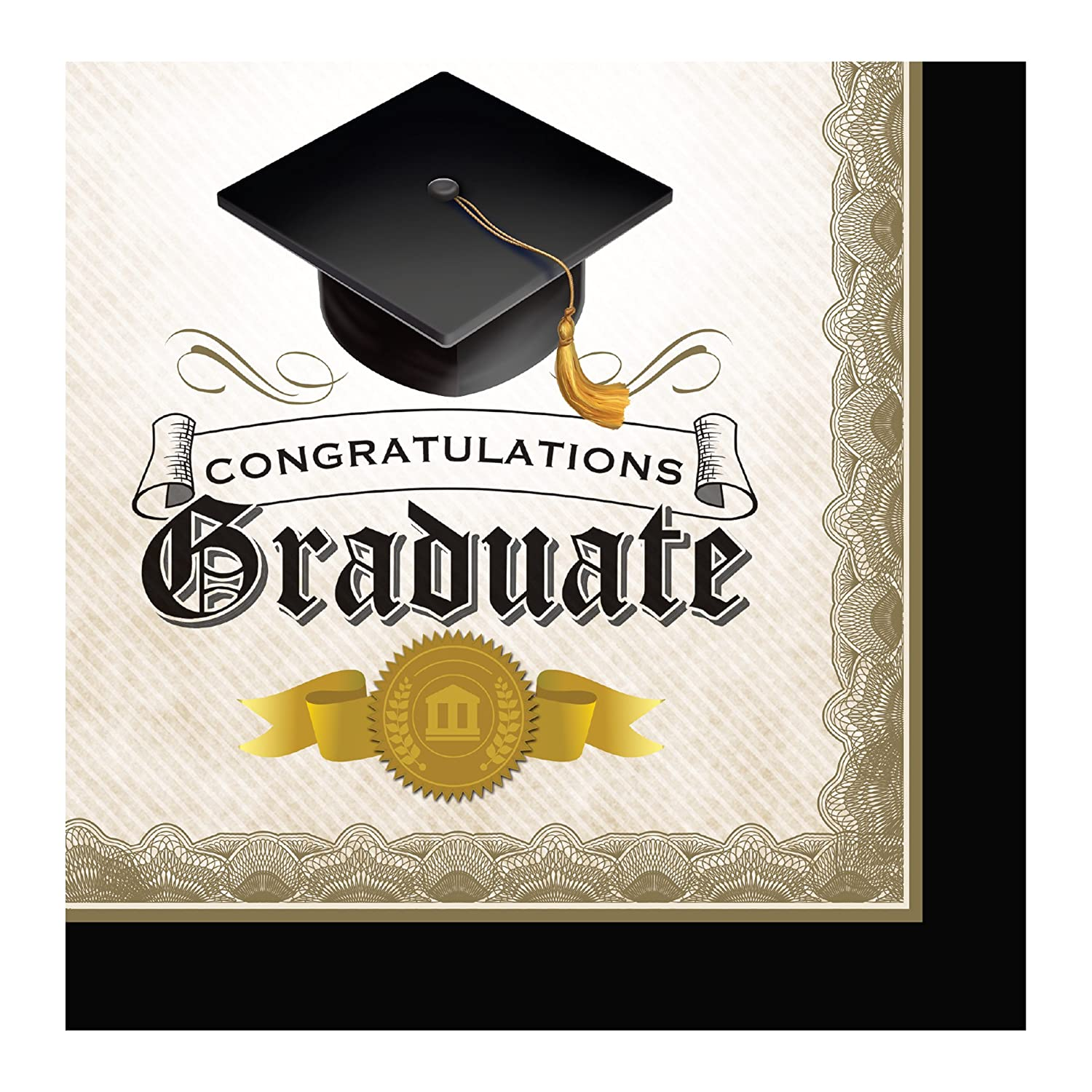 Black//White//Gold 662216 Creative Converting 16 Count Paper Lunch Napkins Cap and Gown