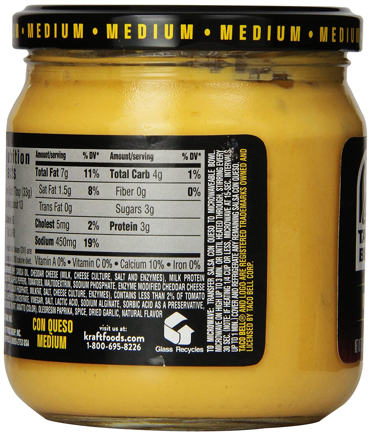 Amazon.com: Taco Bell Salsa con Queso, Cheese Dip, Medium, 15 oz. (Pack of 4)