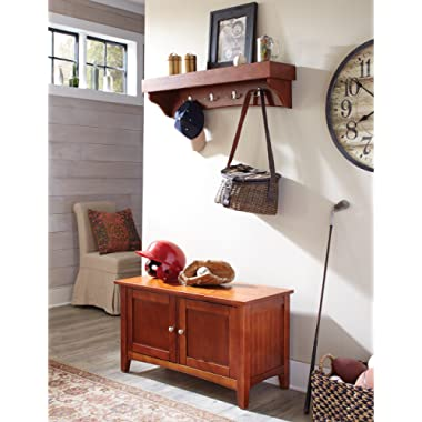 Alaterre Shaker Cottage Coat Hook with Shelf and Cabinet/Bench Set, Cherry