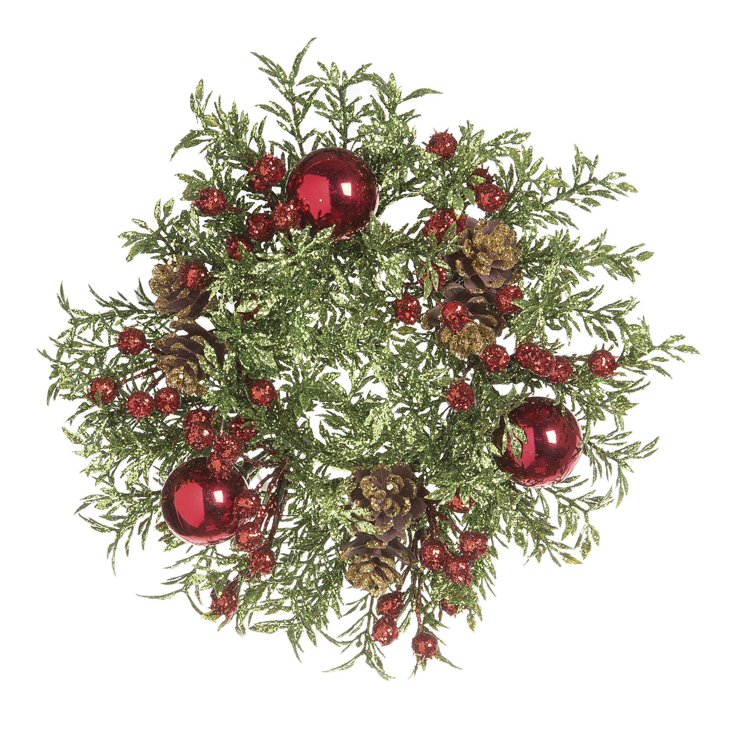 Ten Waterloo Christmas Candle Ring - Mini Wreath for 3 inch Pillar Style Candle Glittered Greens Red Berries Pine Cones with Red Ball Ornaments - Artificial Pine