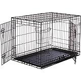 AmazonBasics Single Door & Double Door Folding Metal Dog Crate with Paw Protector