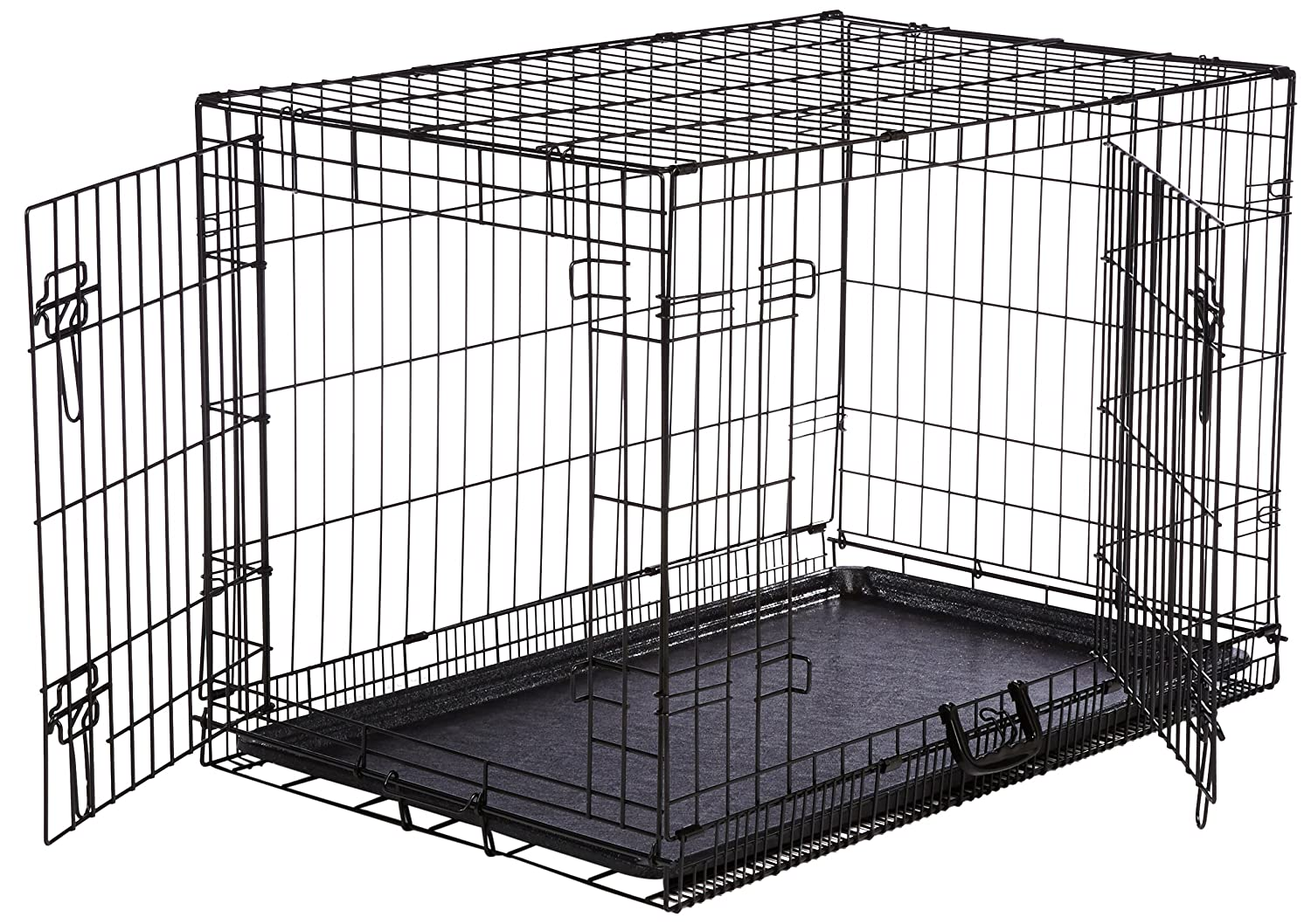 Metal dog crate folding double door kennel medium puppy for Double door with dog door