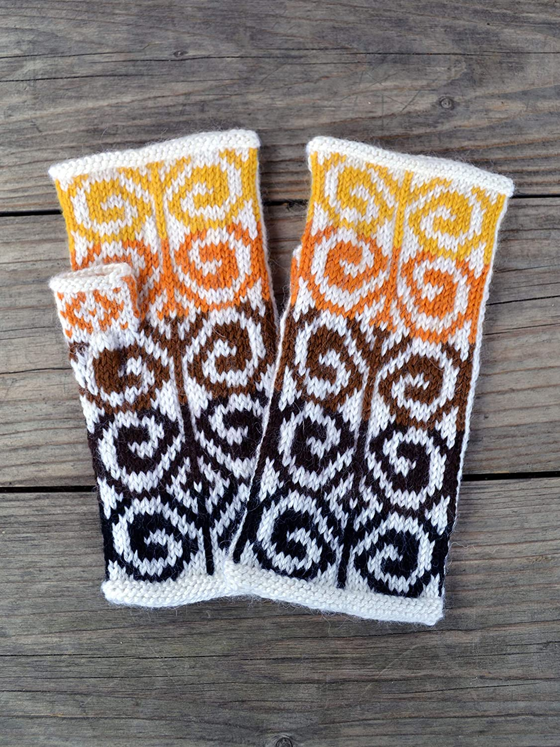 Yellow tones wool arm warmers for women