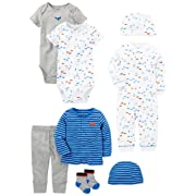 Simple Joys by Carter's Baby Boys' 8-Piece Gift Set, Blue Cars, 0-3 Months