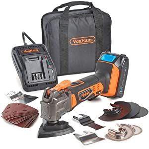 VonHaus 20V MAX Cordless Oscillating Multi-Tool Kit with Variable Speed, LED Light, Dust Extractor and 20 Piece Accessories Set - 2.0Ah Lithium-Ion Battery and Charger Included