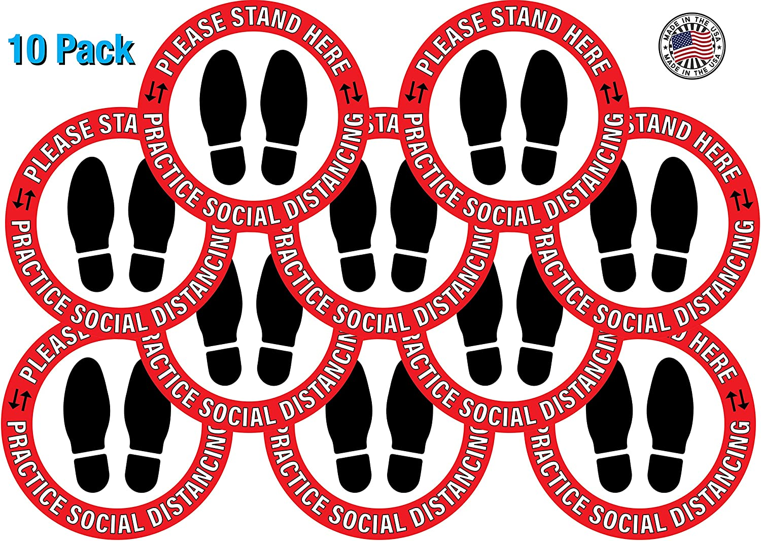 Easy Installation Round Shape Red Laminated Removable Adhesive Vinyl Made in USA Social Distancing Floor Decal Stickers-10 Pack 12 inch Foot Prints