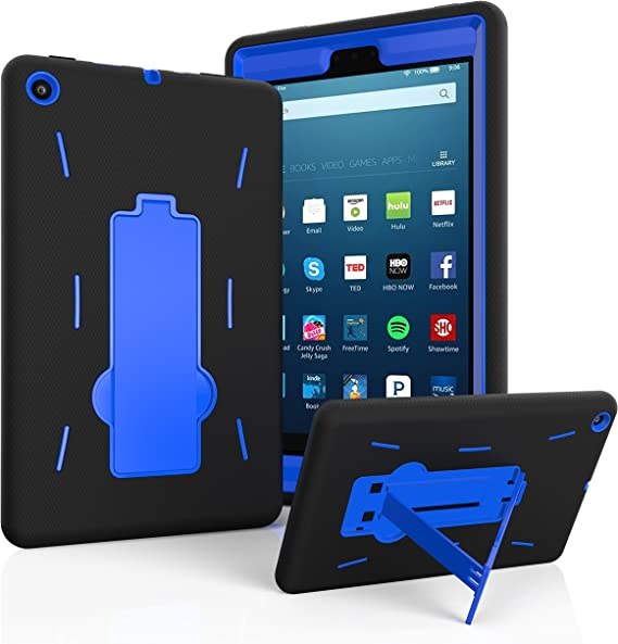 View Stand Holder Blue TPU Gel Skin Case for Amazon Kindle Fire HD 8 2016 L