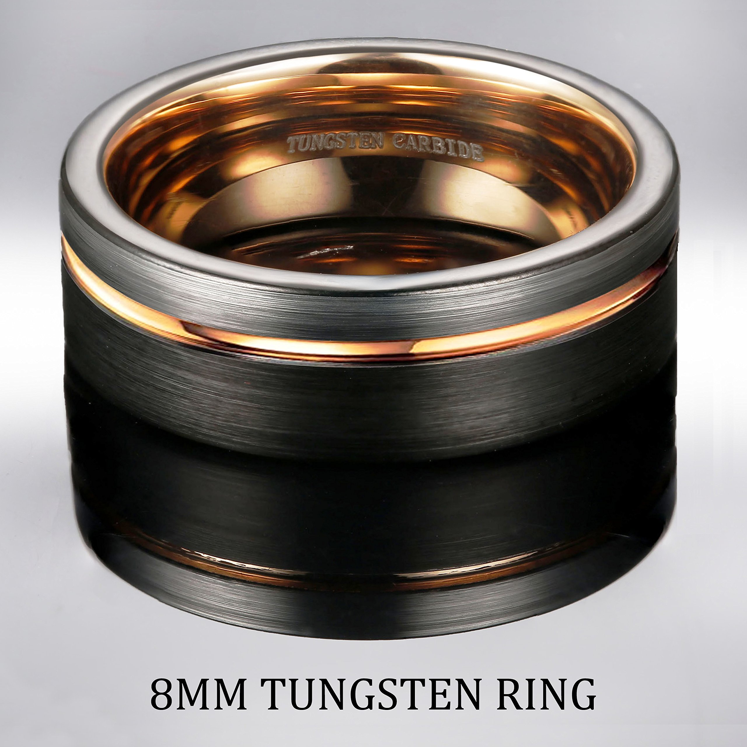 Tungary 8MM Tungsten Ring for Men Wedding Band Rose Gold Line Ring Black and Silver Brushed Size 12 by Tungary (Image #3)