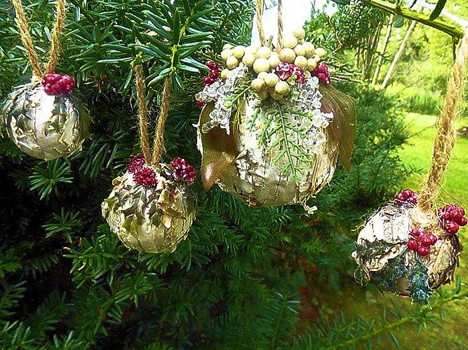 birch bark handmade christmas tree ornaments set of 4 white red green