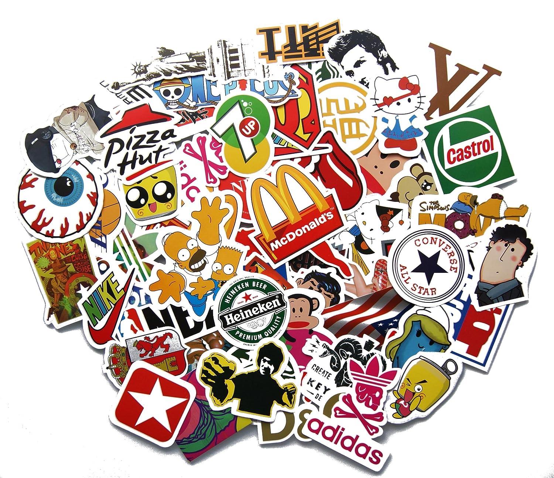 Stickerbomb mega mix of 100 and retro sponsoren stickers amazon co uk car motorbike