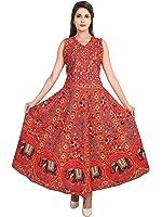 Jaipur Skirt Women's Cotton Printed New Fashionable Long Length Dress (MJBDRESS0122 - X-Large, Red)