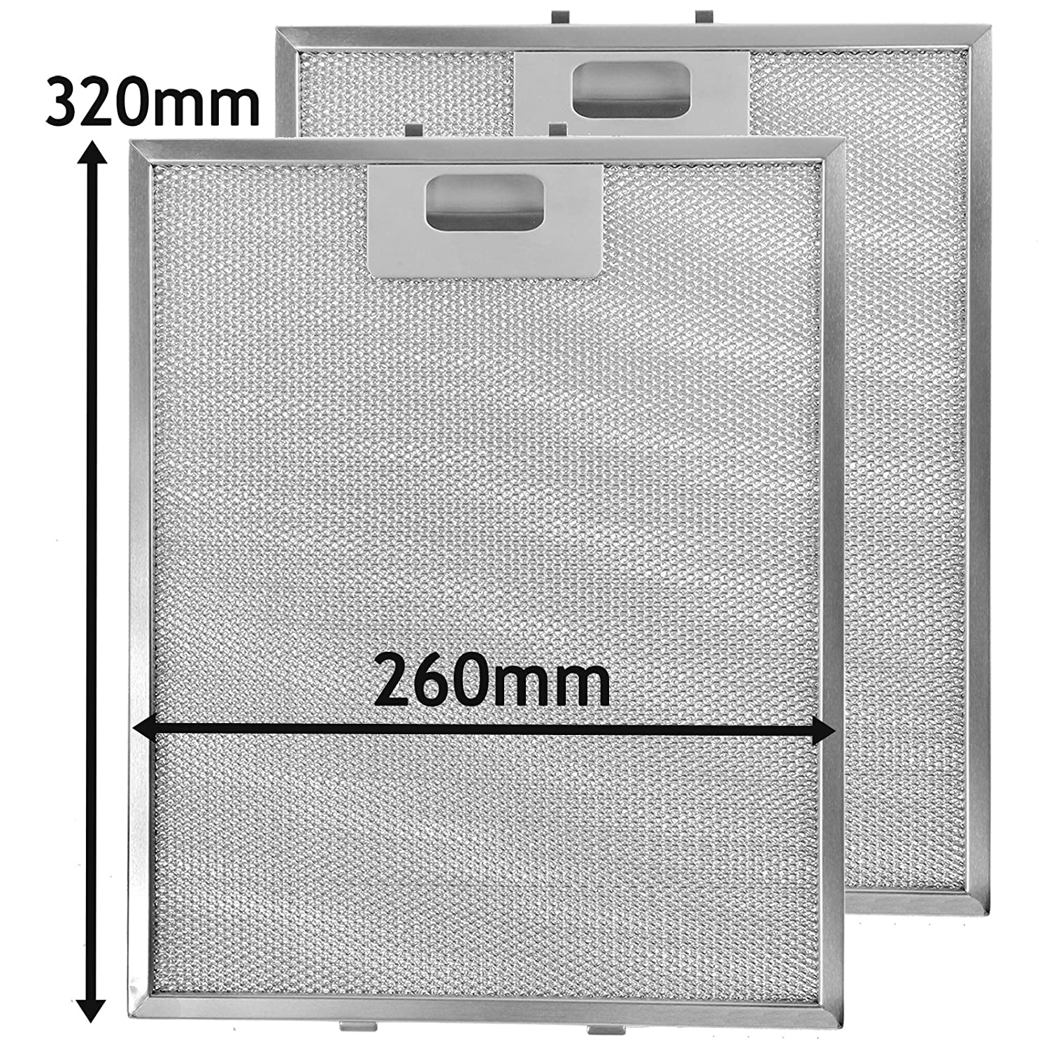 SPARES2GO Metal Mesh Filter for CDA GDA Cooker Hood/Extractor Fan Vent (Pack of 2 Filters, Silver, 320 x 260 mm)