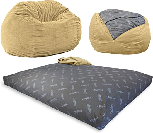 CordaRoys Chenille Bean Bag Chair, Convertible Chair Folds from Bean Bag to Bed, As Seen on Shark Tank - Tan, Full Size