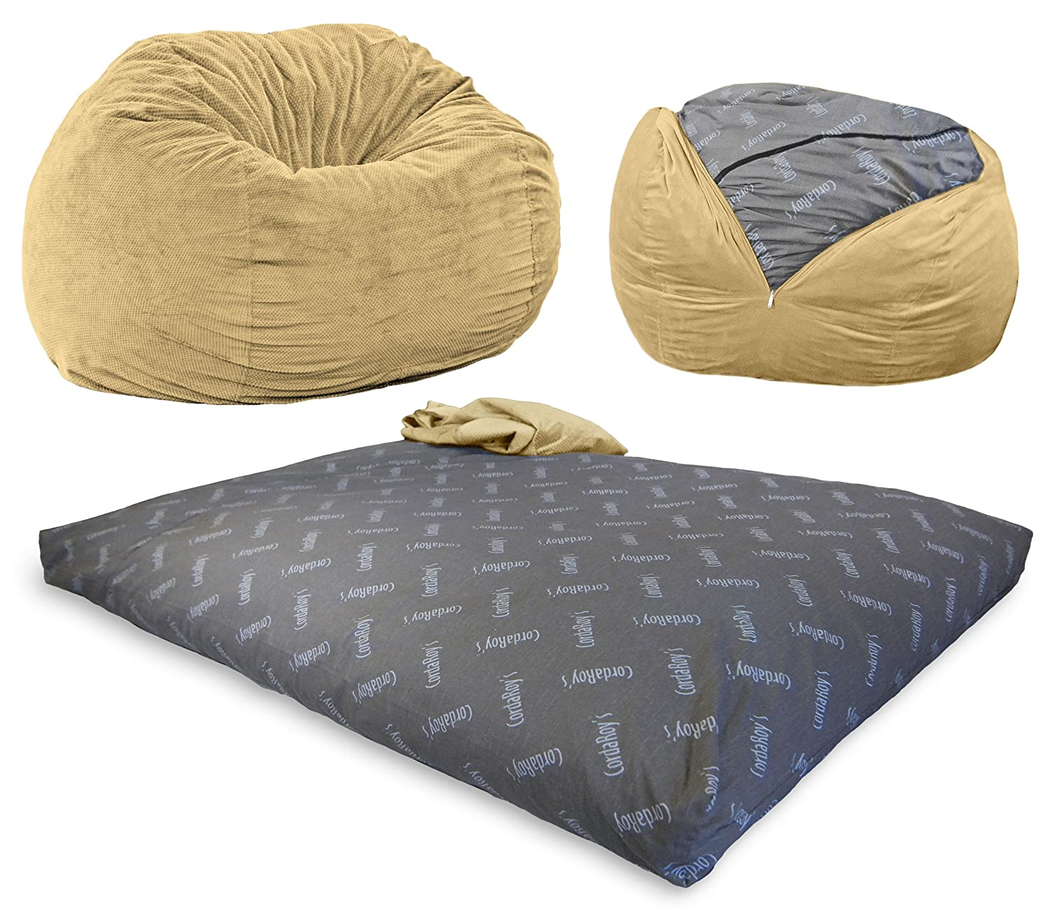 CordaRoy's Chenille Bean Bag Chair, Convertible Chair Folds from Bean Bag to Bed, As Seen on Shark Tank - Tan, Full Size