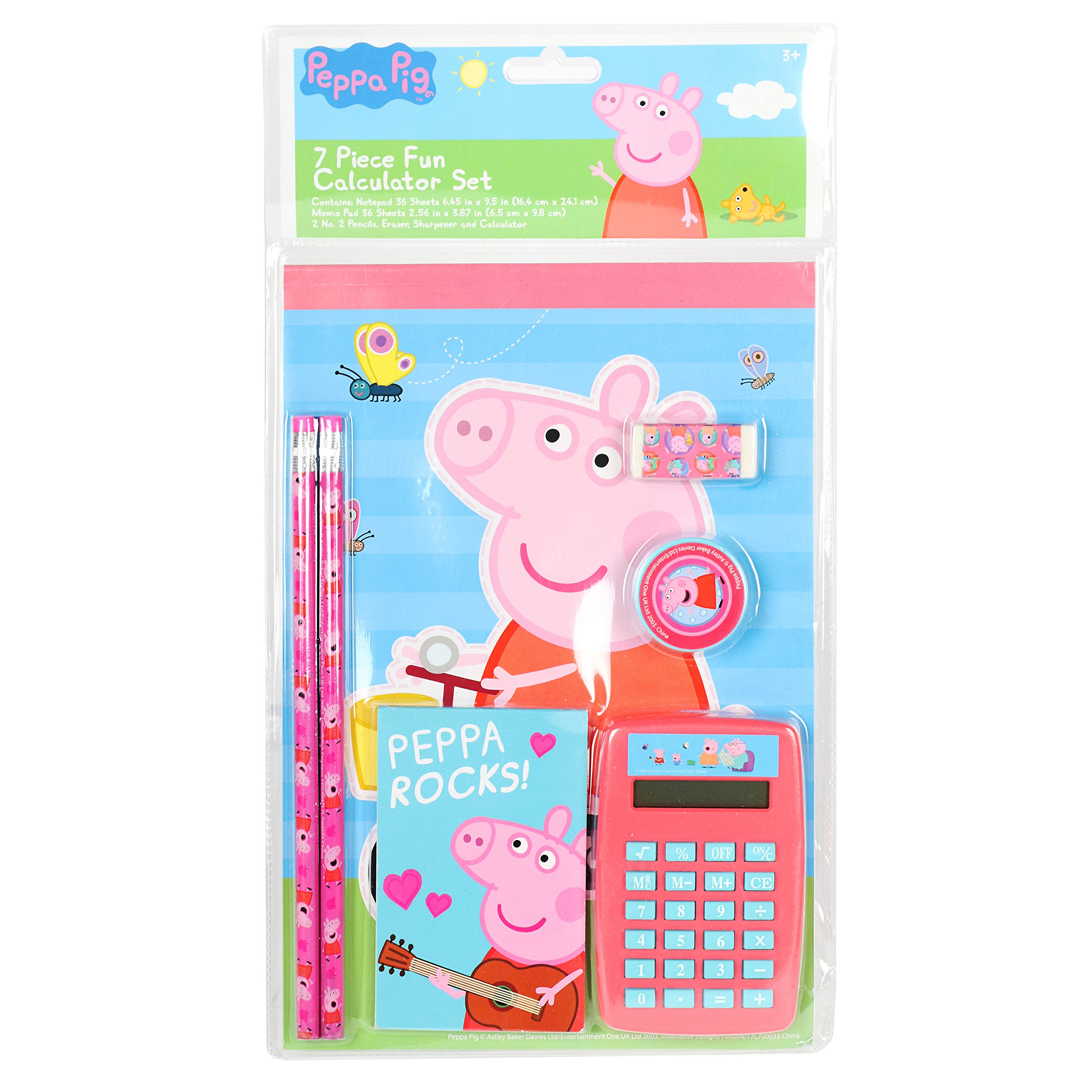 Peppa Pig 7 piece Fun Calculator Set Back to School for Girls