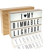 EnzZone Model 380 Tiles, Woodgrain Effect DIMMABLE Cinema Light Box, Unique Kids Night Light, Cinematic Vintage Marquee Sign with Changeable Letters and Fun Symbols |USB Mains Power Plug Adapter