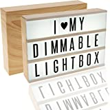 EnzZone New Model 380 Tiles, Woodgrain Effect DIMMABLE Cinema Light Box, Unique Kids Night Light, Cinematic Vintage Marquee Sign with Changeable Letters and Fun Symbols |USB Mains Power Plug Adapter