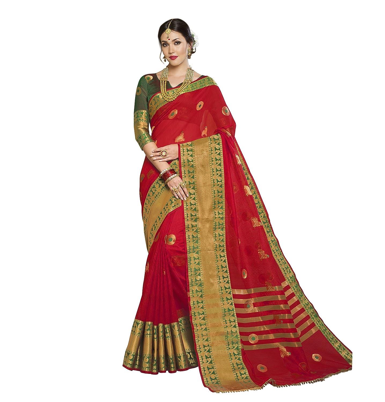 154e5632b1 Taanshi Self Design Kanjivaram Cotton Silk Saree (Red) 6901: Amazon.in:  Clothing & Accessories