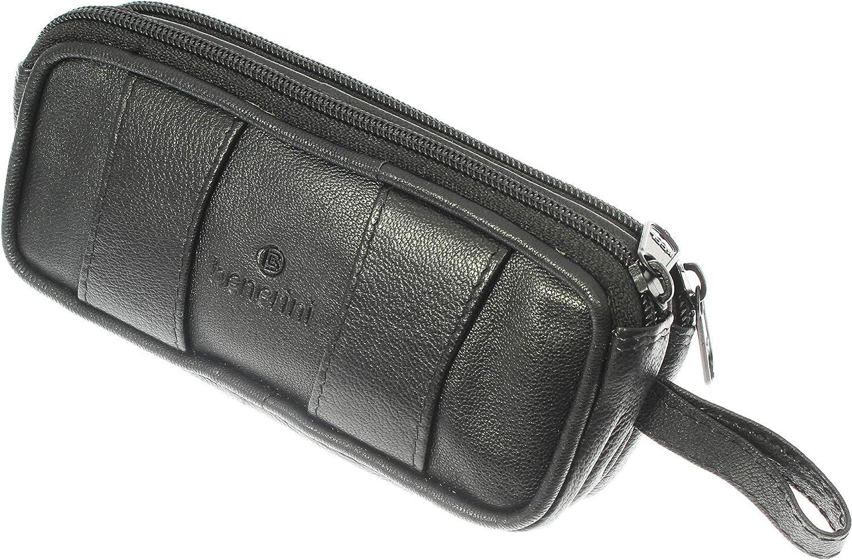 Estuche de gafas dobles de cuero de cabra negro suave con trabillas para cinturón - llavero: Amazon.es: Zapatos y complementos