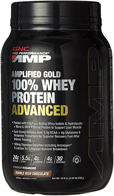 GNC Amplified Gold 100 Percent Whey Protein Advanced Powder - 930 g (Chocolate) Sports Supplements at amazon