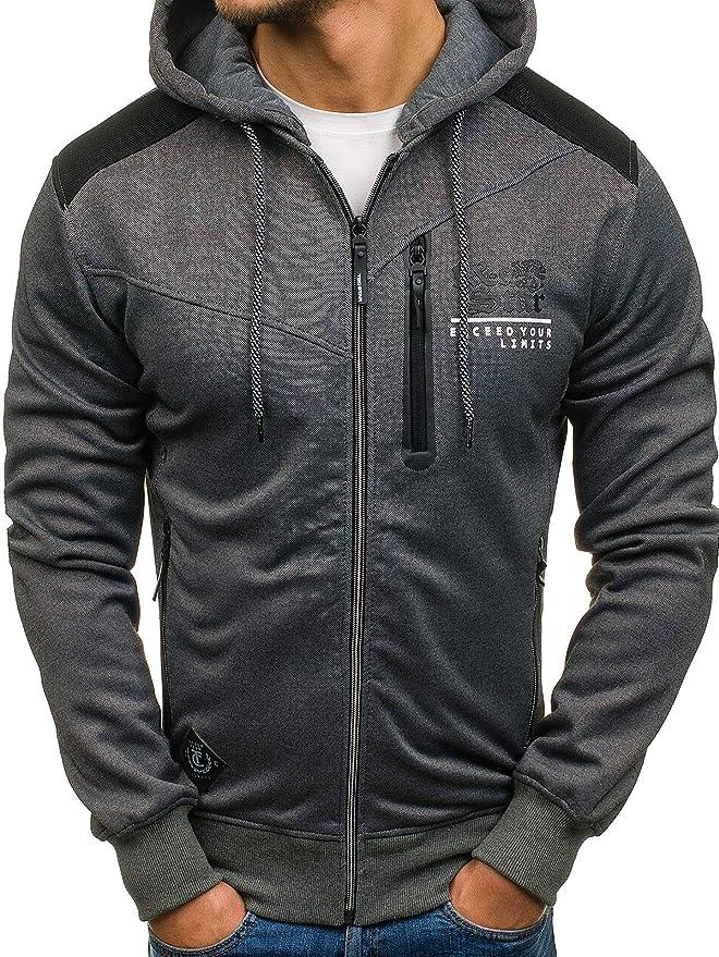 Herren Kapuzenpullover Sweatjacke Pullover Sport Hoodie Pulli Zip BOLF 1A1 Motiv