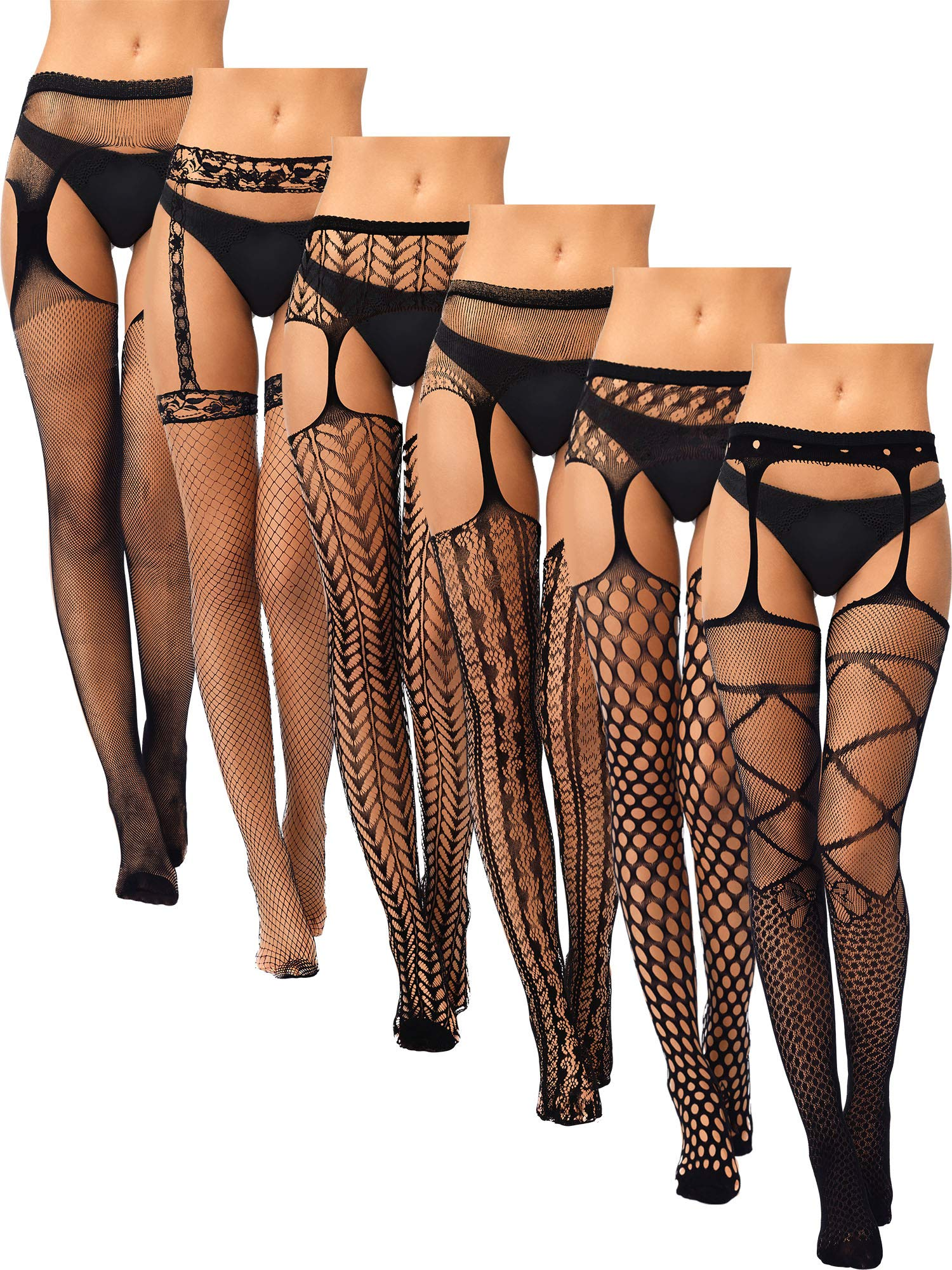 6 Pairs Women Suspender Pantyhose Stockings Valentine's Day Fishnet Tights Stretchy High Stockings for Dress up Favors
