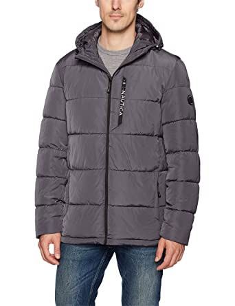 Nautica Men's Quilted Hooded Parka Jacket at Amazon Men's Clothing ...