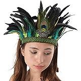 【コスプレ】Madrugada 本格 高級 インディアン 羽根飾り ヘッドドレス 大羽根 タイプ 2点セット (頭羽根飾り+ベネチアンマスク) S274