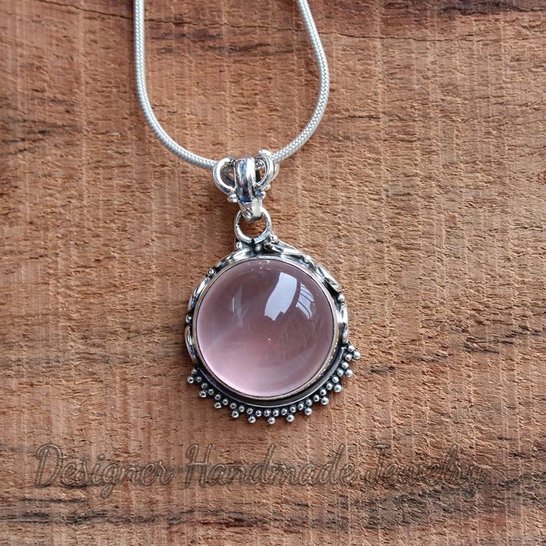 ap4653 Natural Rose Quartz Round Shape Gemstone Pendant For Easter 925 Sterling Silver Handmade Designer Pendant Jewelry Length 1.5