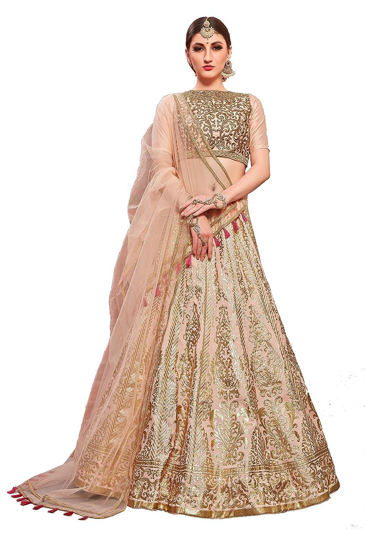 Buy SK Clothing Women's Thai Silk Metallic Foil Lehenga