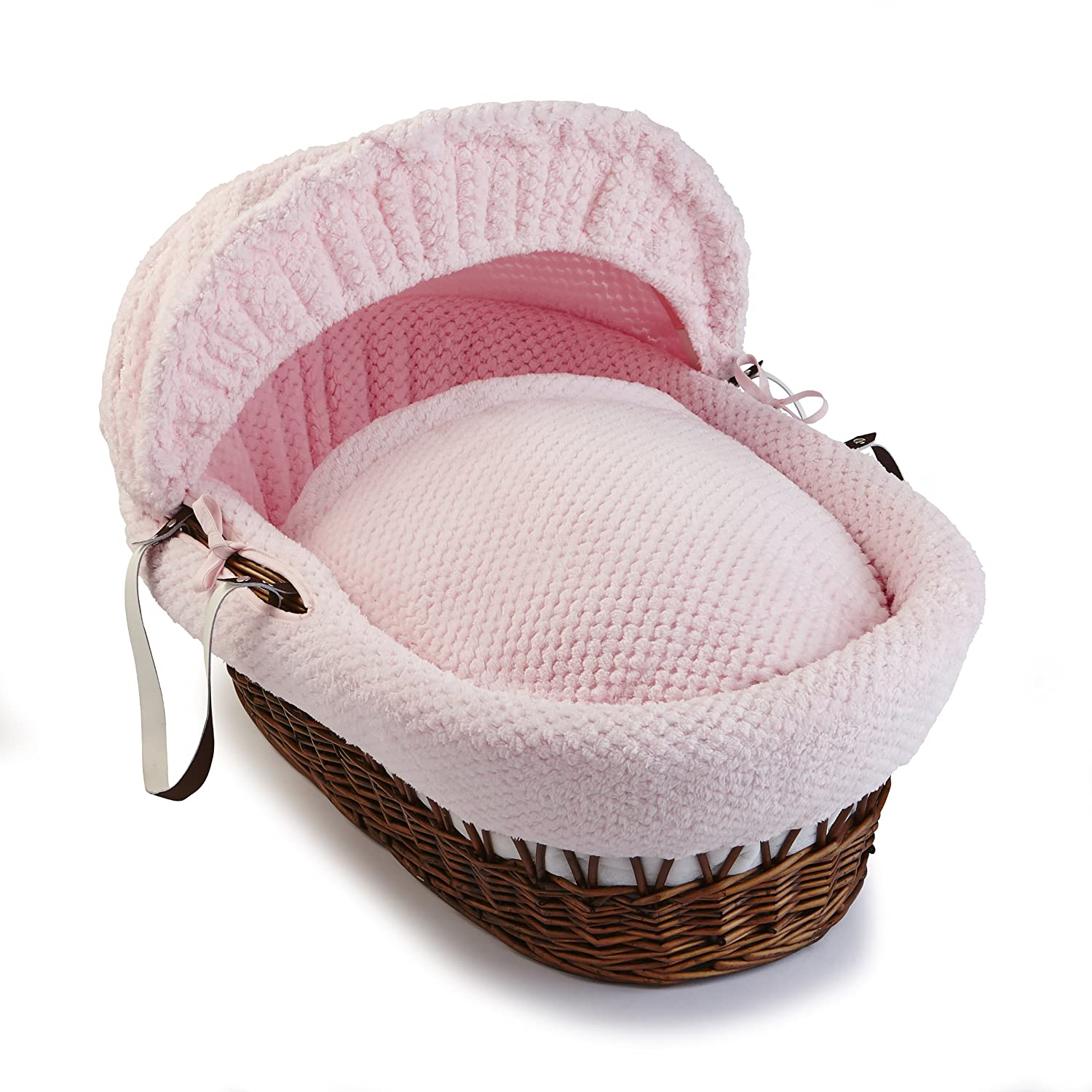 Clair de Lune Honeycomb Dark Wicker Moses Basket inc. bedding, mattress & adjustable hood (White) CL5134DW