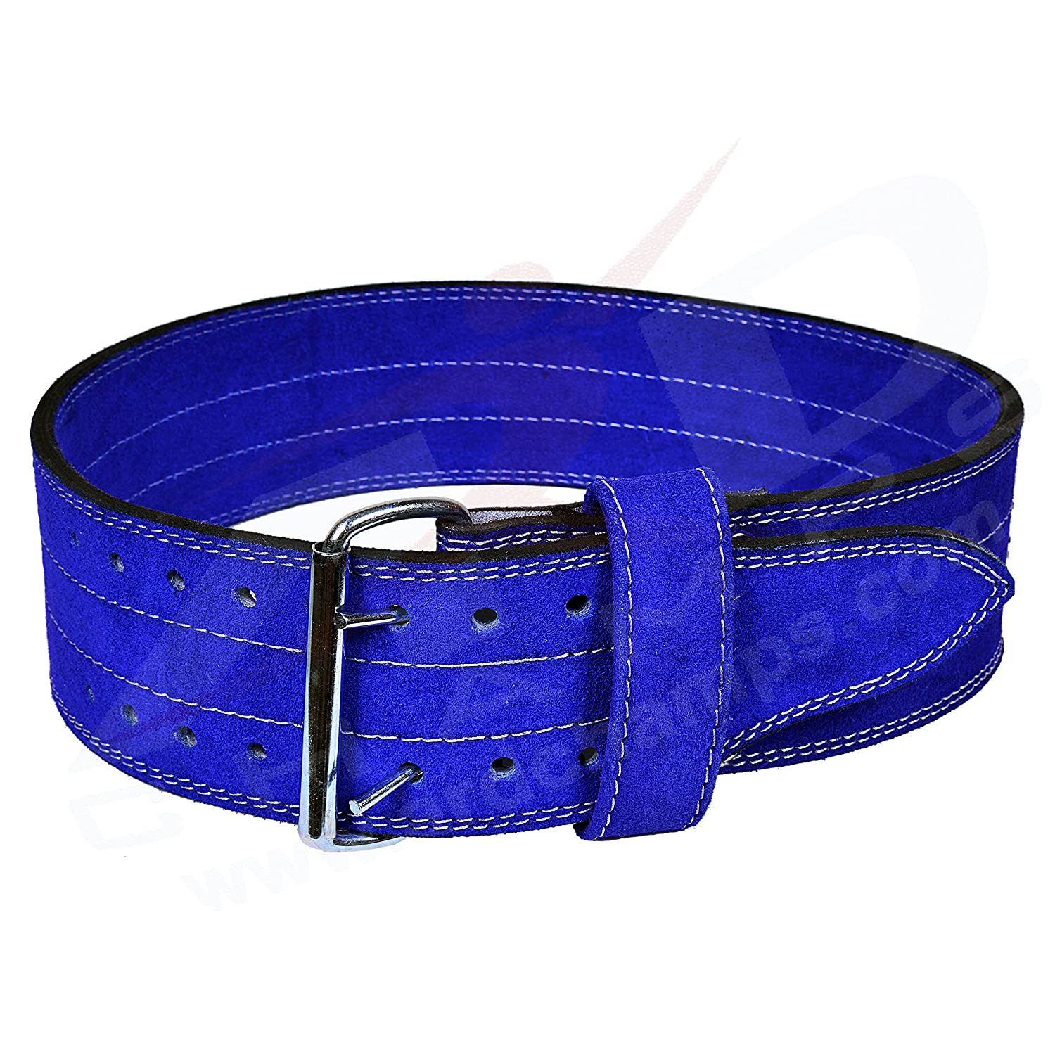 4FIT Genuine Leather 4 Power Heavy Duty Weight Lifting Body building Belt with Steel Buckle Blue