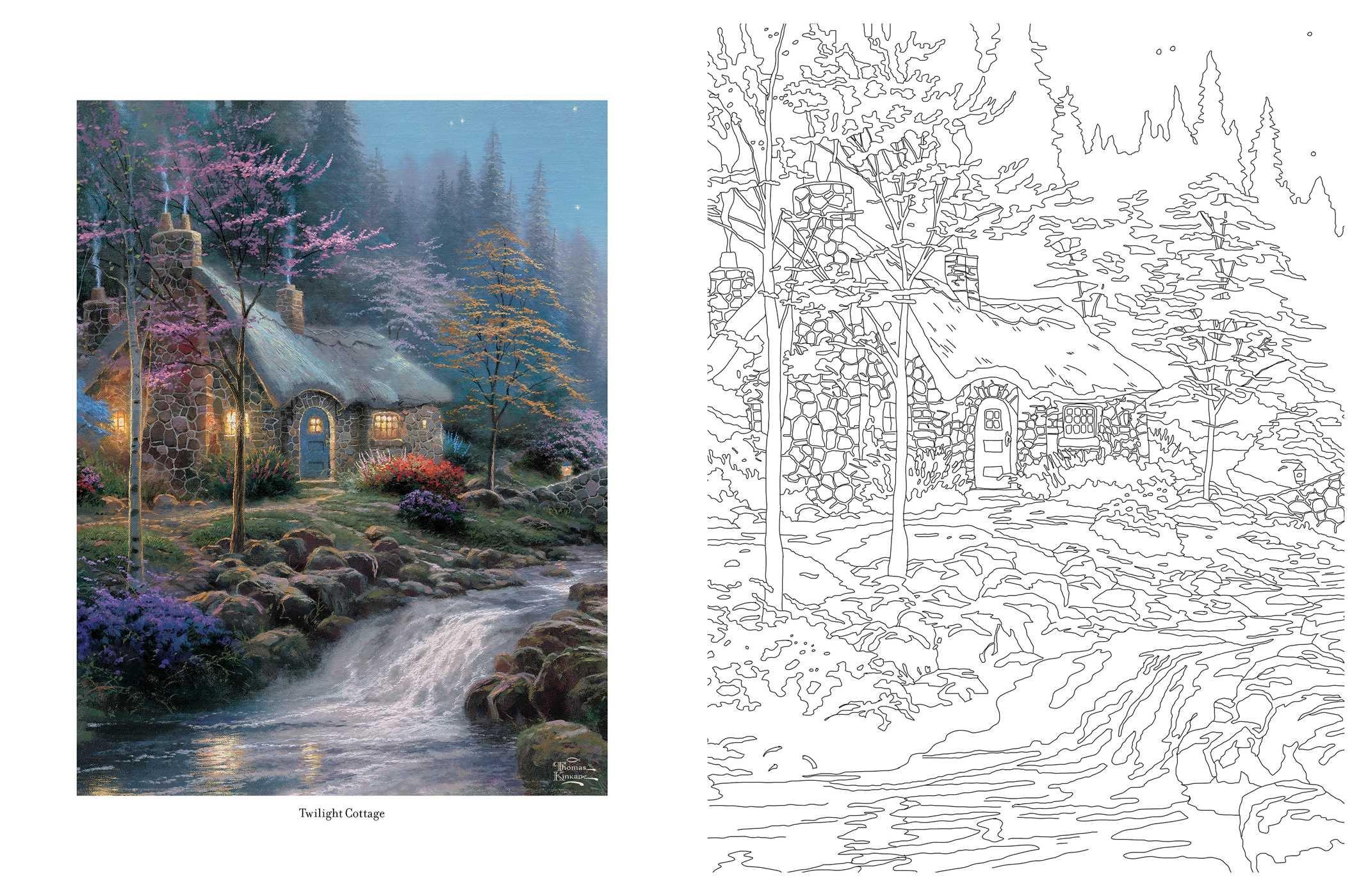 Amazon Com Posh Adult Coloring Book Thomas Kinkade Peaceful