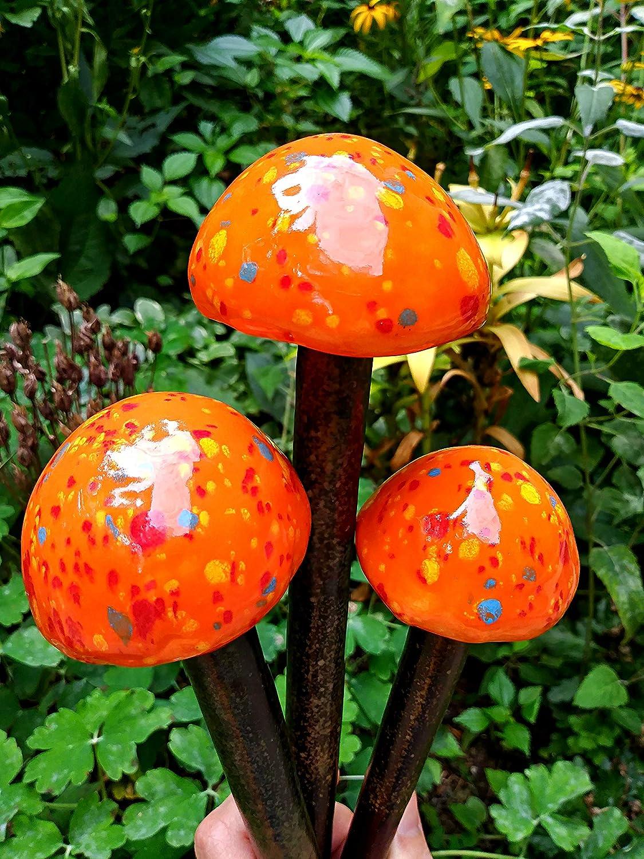 Amazon Com Handmade Garden Mushroom Stake Set Of 3 Stoneware