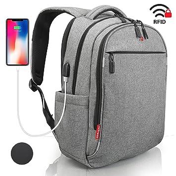 7eb4554b86a02 Laptop Rucksack Herren Damen Grau - RFID Schutz Anti Theft Backpack - SWISS  Design Rucksack wasserdicht