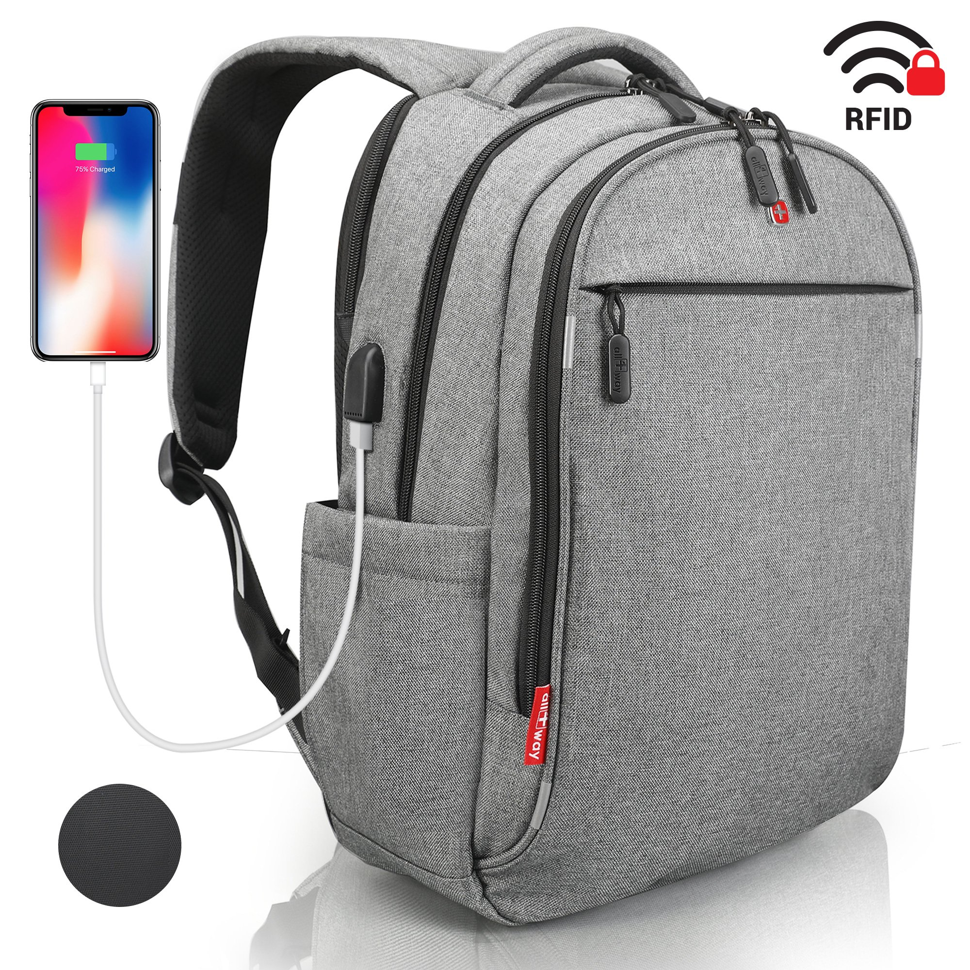 Laptop Backpack - Anti Theft Backpack Waterproof Rain Cover - SWISS Design RFID Blocking - USB Charging Port - Business College Travel School Backpack - Grey Backpack for Men Women 15.6 inch