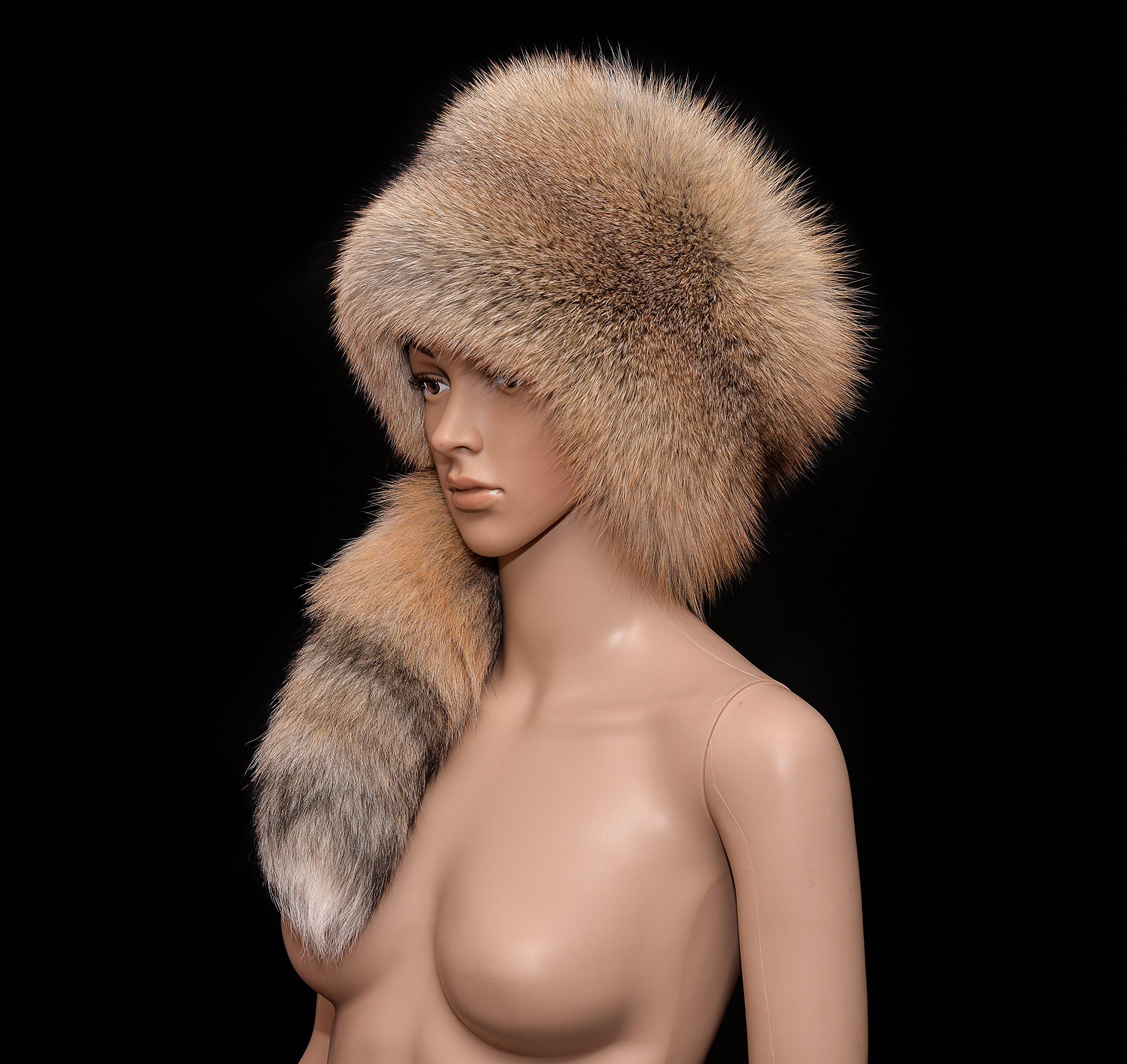 Real Premium Golden Island Fox Fur Handmade Ladies Winter Flat Top Bucket Hat Tail