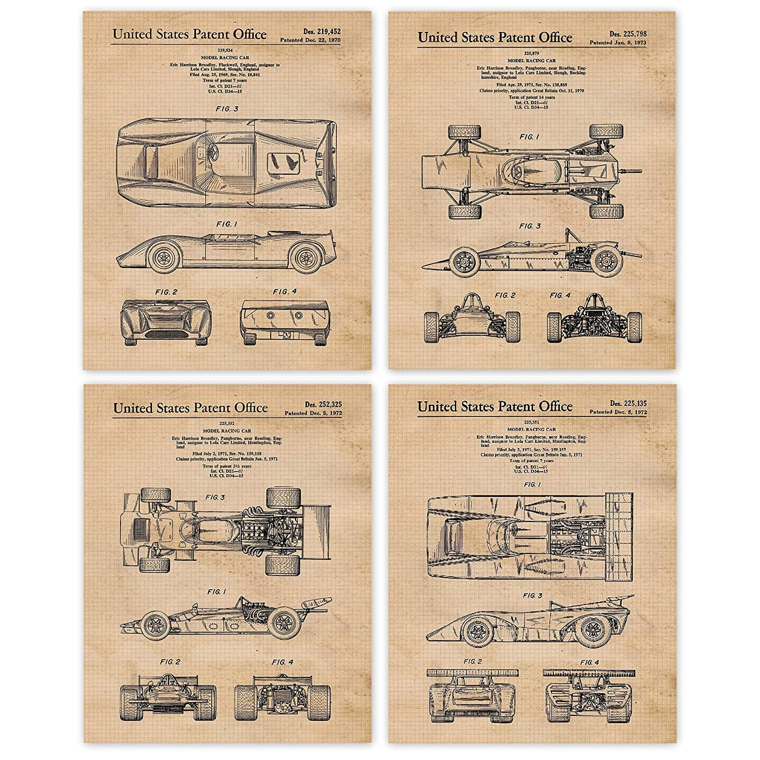 Amazon Com Vintage Racing Lola Cars Limited Patent Poster Prints Set Of 4 8x10 Unframed Photos Wall Art Decor Gifts Under 20 For Home Office Man Cave College Student Teacher F1 Motorsport