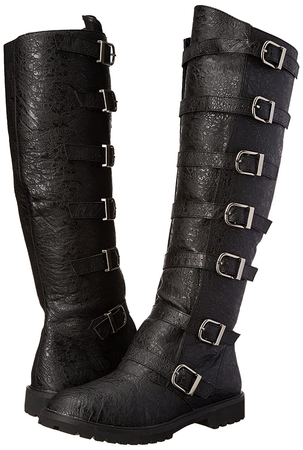 Deluxe Adult Costumes - Men's tall black multi-buckled manmade synthetic gotham-110 engineer boots.