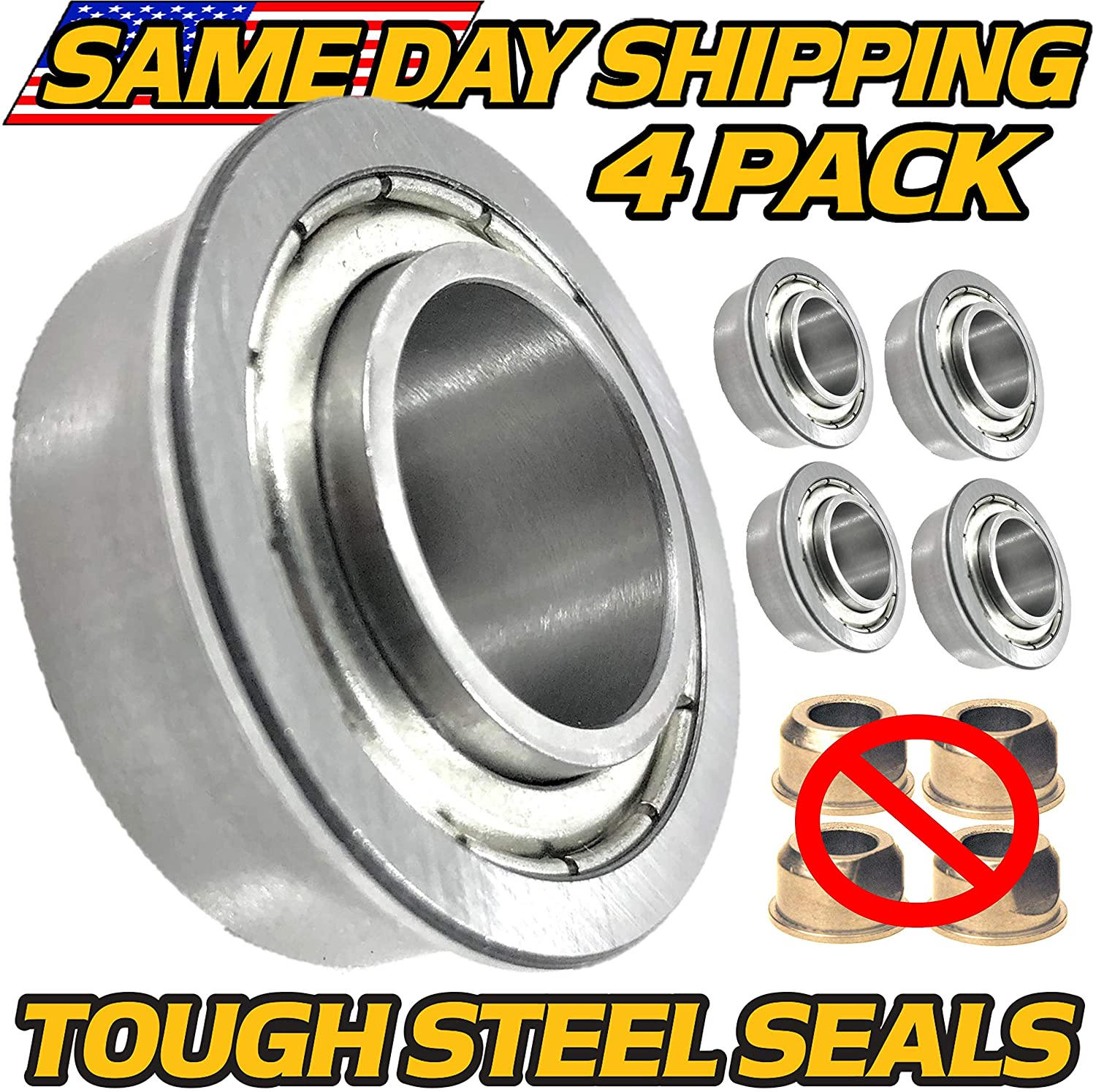 (4 Pack) Craftsman BT2000 GT6000 T3000 YS4500 Front Wheel Bushing to Bearing Conversion - HD Switch