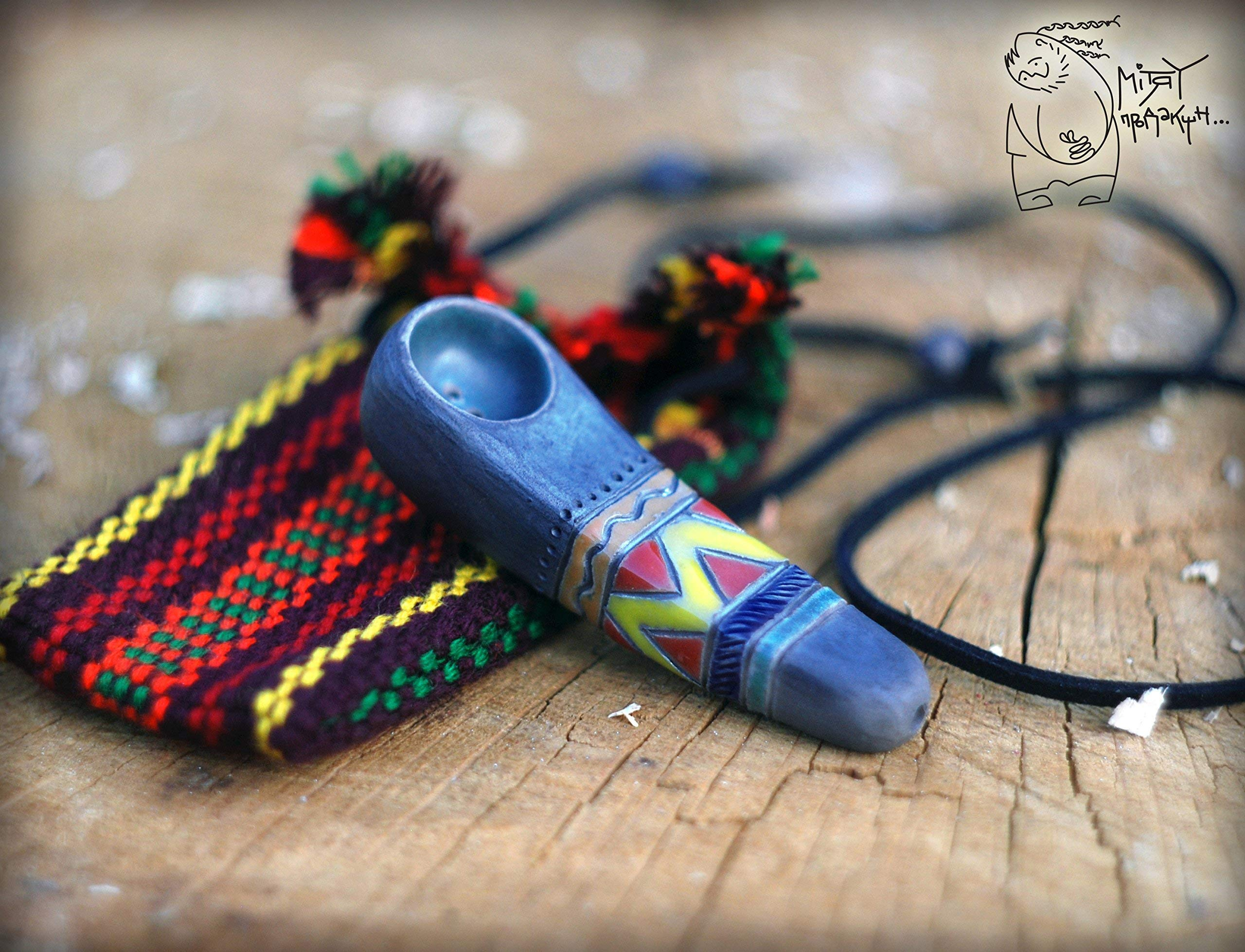 Handmade Tobacco pipe with bag 2,75'', hand pipe, small pipe with ornament, raku ceramics