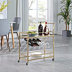 FirsTime & Co. Gold Francesca Bar Cart, American Designed, Gold, 30 x 13 x 32.5 inches, 30 inches, Gold & Glass (70286)