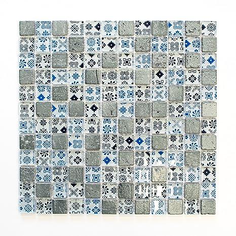 Piastrelle Mosaico tessere di mosaico argento blu vetro lucido ...