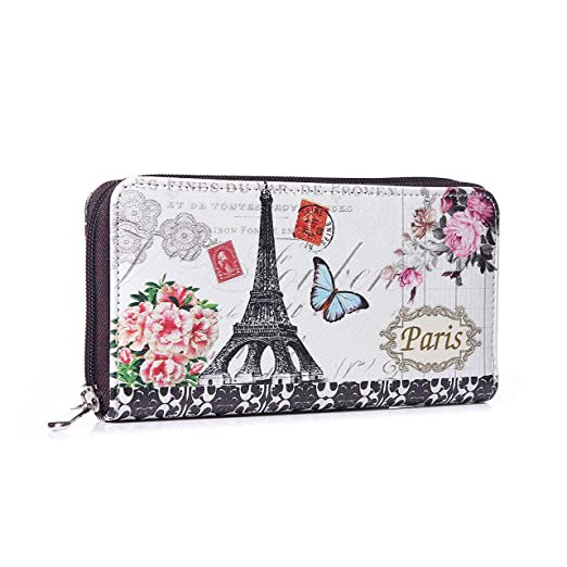 Mujer Monedero XL PARIS mariposa Cartera Monedero largo ...
