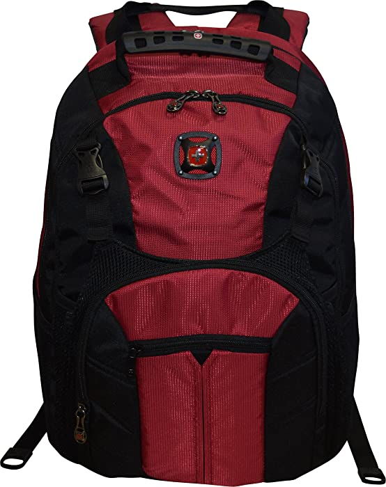 "SwissGear Sherpa 16"" Laptop Backpack Travel School Bag (Rio Red)"