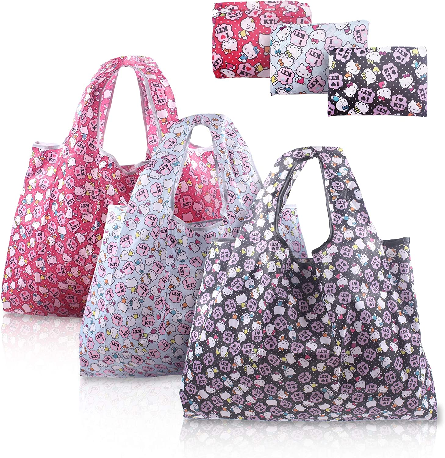 Finex 3 Pcs Set Hello Kitty Foldable Reusable Tote Recycle Shopping Bag lightweight portable large capacity Random Pattern Color