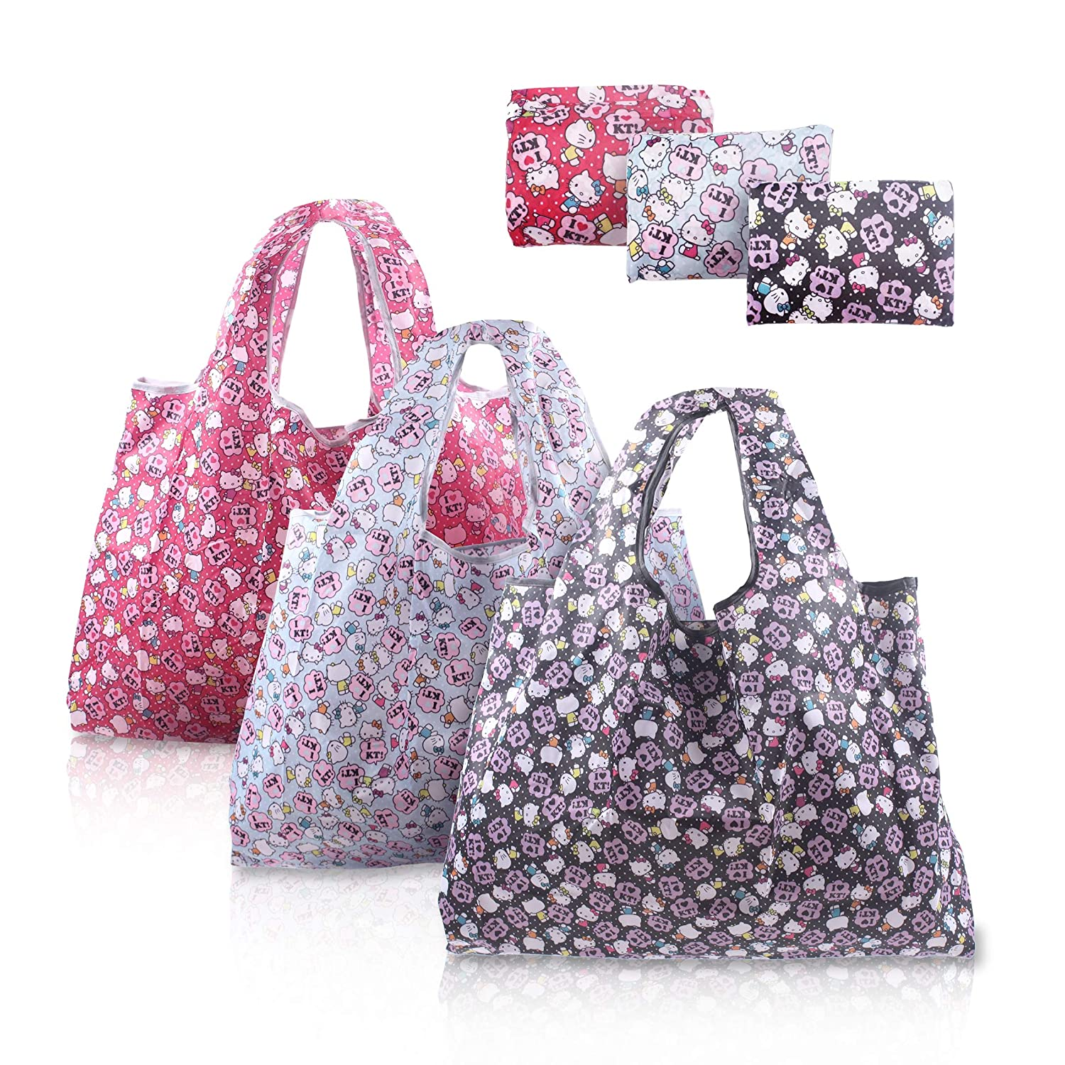 9815a6014 Amazon.com: Finex - Set of 3 - Hello Kitty Foldable Reusable Tote Recycle Shopping  Bag - lightweight portable large capacity: Kitchen & Dining