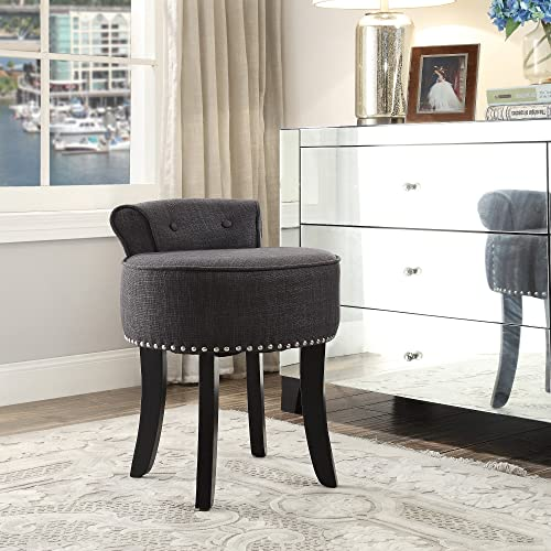 Inspired Home Taylor Grey Linen Vanity Stool – Nailhead Trim Roll Back Button Tufted Bedroom